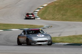 Road Atlanta Turn 5: a place where Bianca settled her suspension and Moxie grips the track hard.